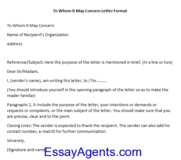 How To Write To Whom It May Concern Letter Format Essayagents Com
